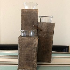 Pottery Barn Rustic tri votive candle holder.